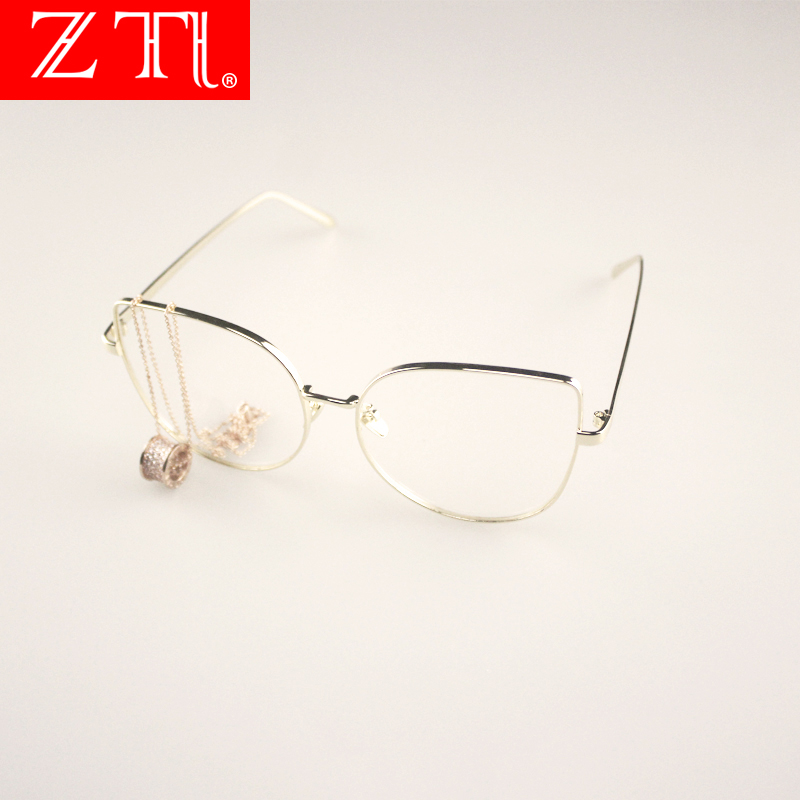 ZT Oversize Women Cat Eye Alloy Glasses Polycarbonate Lens Metal Frame Brand Designer Men Clear Lens Eyeglasses Uv400