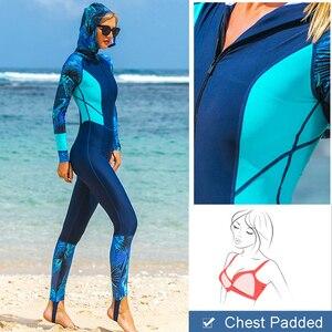 Image 5 - Lycra UPF 50 + Toàn Thân Lặn Wetsuit Một Mảnh Tay Dài Phát Ban Bảo Vệ Với Bộ Đội Nữ Vintage Đồ Bơi Lướt Sóng bộ Áo Chống Tia UV