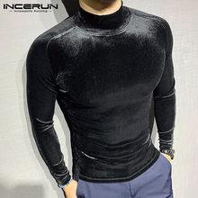 Camiseta de cuello alto para hombre, camisa de manga larga de terciopelo suave, ropa de calle Masculina, ropa interior de ocio, S-5XL