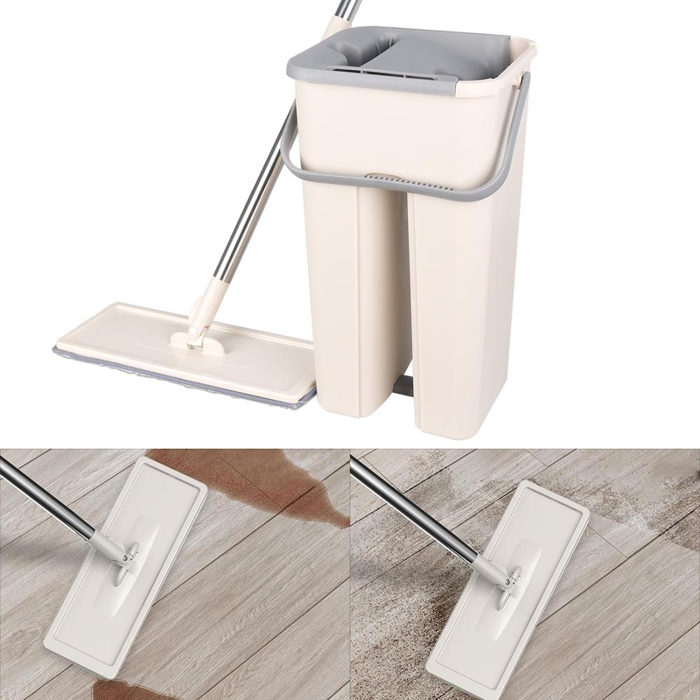 Image 5 - Magic Free Hand Cleaning Mops Spin Microfiber Mop With Bucket  Cloth Replace Flat Cleaner Home Kitchen Floor Windows Clean ToolsMops