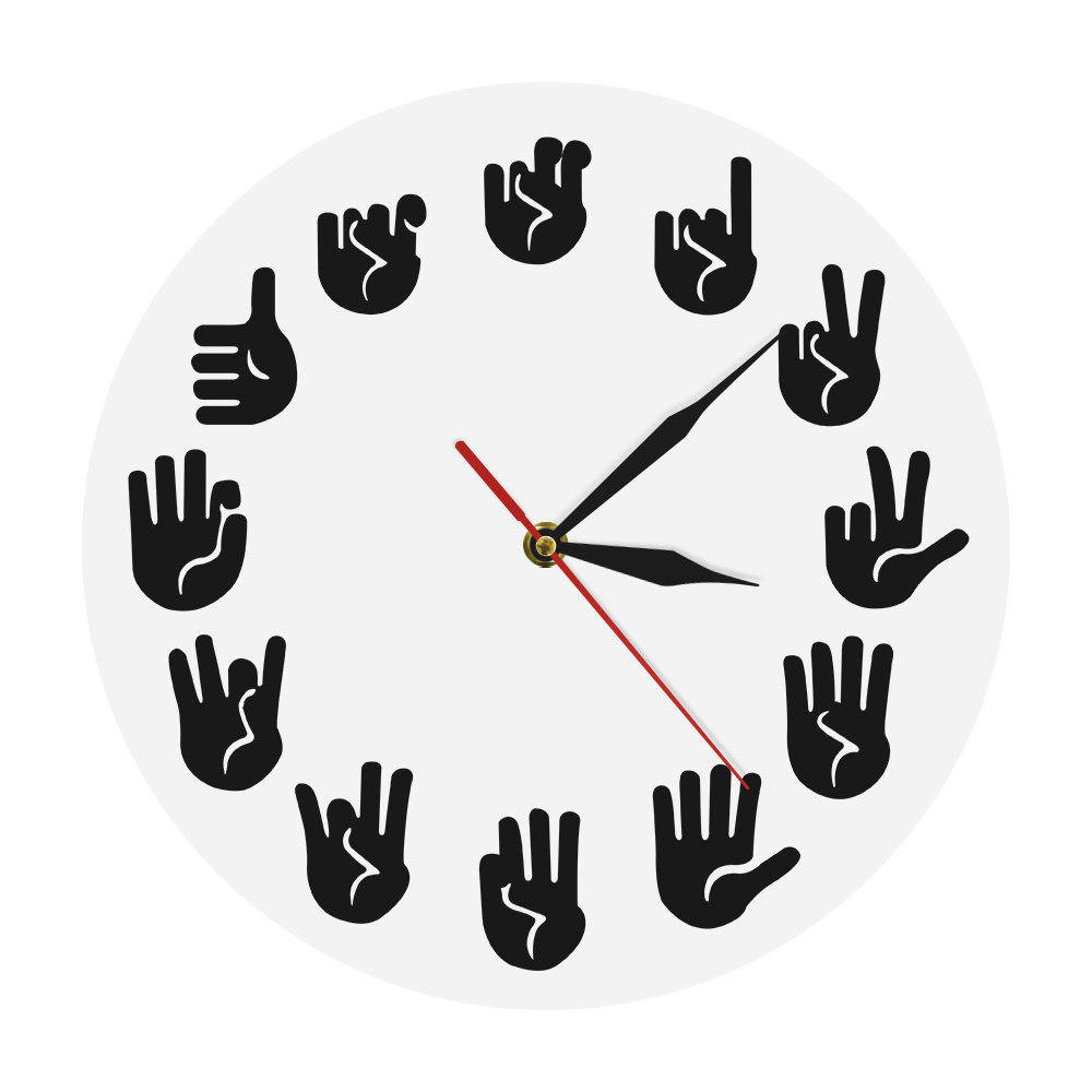 American Sign Language Iconic Wall Clock ASL Gesture Modern Clock Watch Equivalents Of The Hours Made Gifts For The Deaf-mute