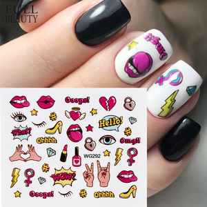 Full Beauty 1PCS Colorful Water Transfer Nail Sticker Sliders Lovely Cat Cake Rainbow Image Nail Art Decorations Decals CHWG(China)