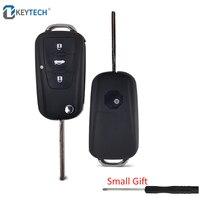 OkeyTech-carcasa de 3 botones para llave de coche, carcasa plegable con mando a distancia para MG GS Roewe MG7 GT GS 350 360 750 W5, con destornillador