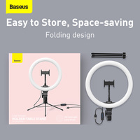 Baseus Dimmable LED Selfie Ring Light & Tripod USB Selfie Light Ring Lamp Big Photography Ringlight & Stand for Cell Phone Stand