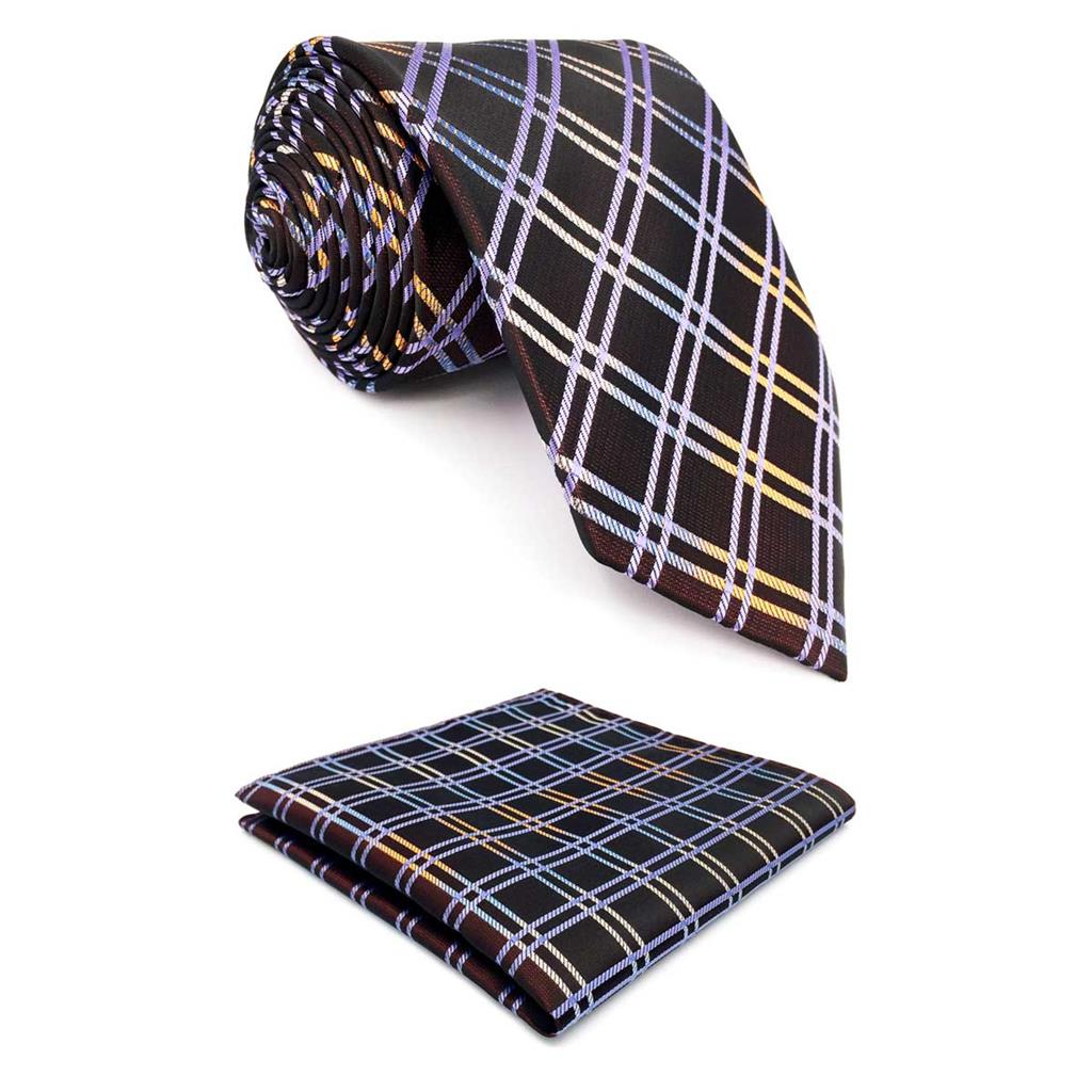 F2 Brown Checkes Mens Neckties Silk Classic Ties For Men Business 63