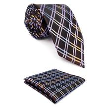 F2 Brown Checkes Mens Neckties Ties for Men Long 63 Silk Classic
