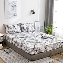 Pillowcase Bed-Sheet Mattress-Cover Marble-Pattern Non-Slip Hypoallergenic Soft High-Elastic