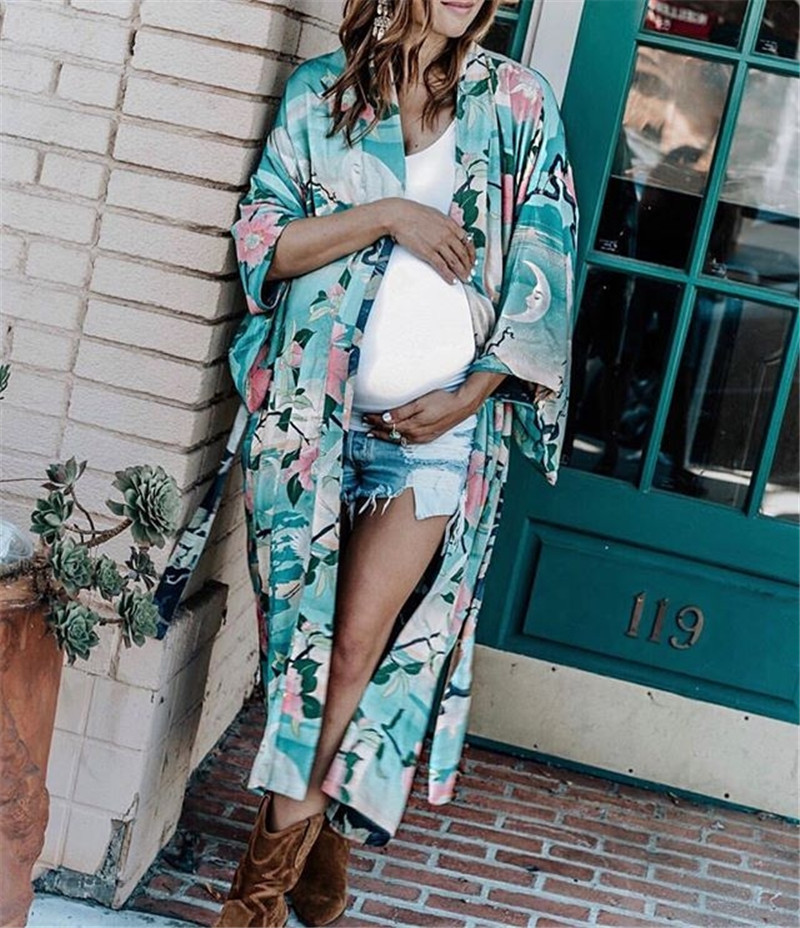 Europe Hot Selling Beauty Cotton Green Base Crane Printed Loose-Fit Cardigan Beach Skirt Bikini Outer Blouse