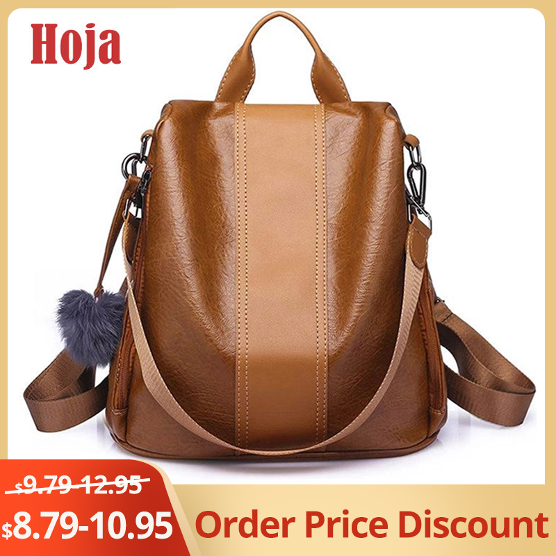 2019 New Fashion Women Backpack Vintage Leather Backpacks For Teenager Girls Preppy School Bagpack Female Travel Bags Mochila
