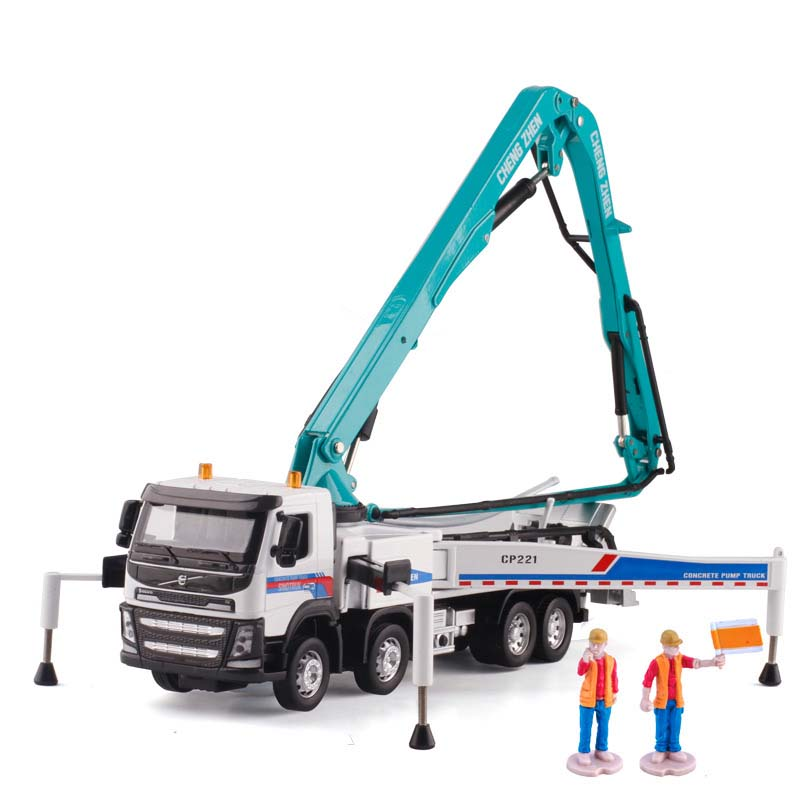 1/50 Scale Concrete Pump Truck Alloy Acousto-optic Cement Transporter Diecast Engineering Vehicle Children Toy Model Collection