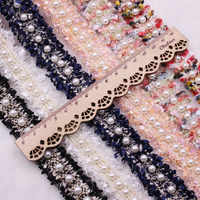1 Yard 2cm Vintage Pearl Embroidered Tassels Lace Satin Ribbon Trim Roll Fabric Handmade DIY Costume Dress Sewing Supplies Craft