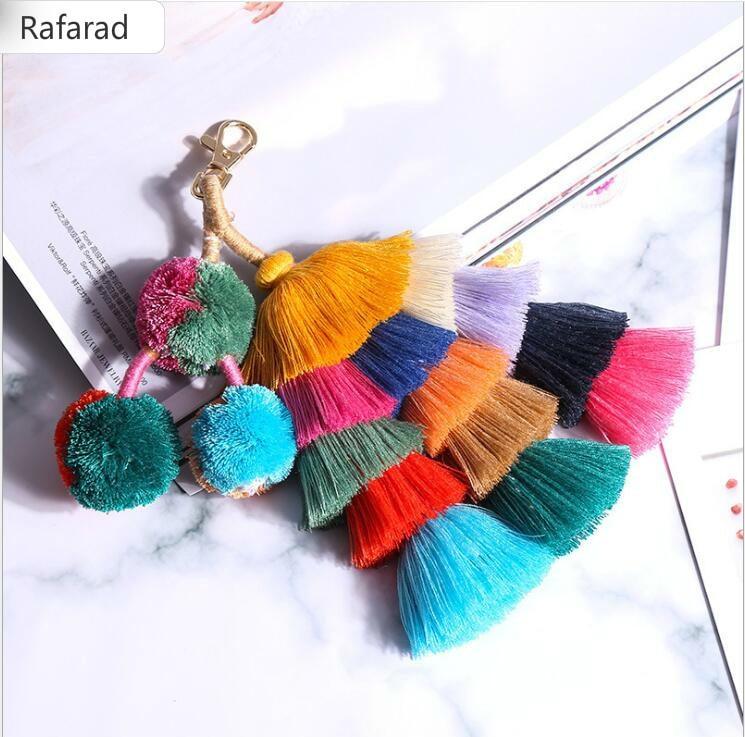 Colorful Pom Pom Tassels Bohemian Bag Hanger Purse Bag Accessories For Beach Straw Bag Handbag Purse Cloths Ornament Bag Parts