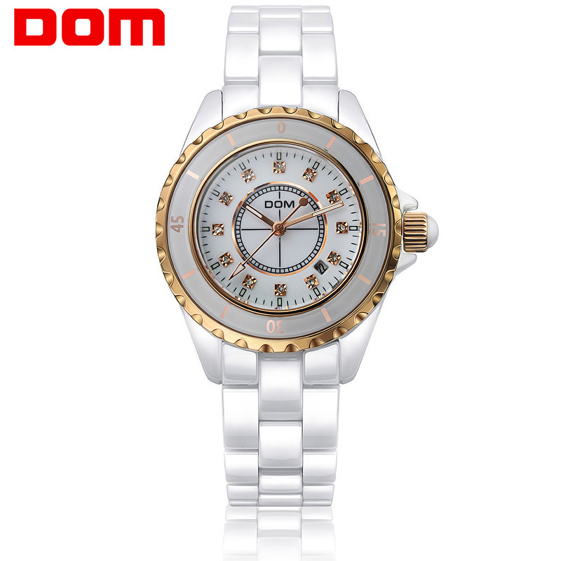 DOM Watch Ceramic Watch Diamond Set WOMEN'S Watch Night Light Waterproof Quartz Watch Women's Fortunes Watch T-598