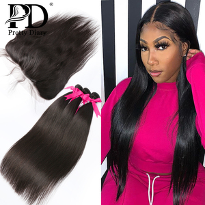 28 30 40 Inch Brazilian Straight Human Hair Weave Bundles With Frontal Closure 13x4 Lace Frontal With 3 4 Bundles Remy Hair