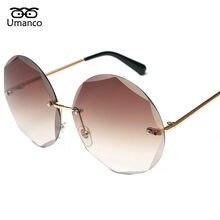 Umanco Round Cut Rimless Sunglasses Women Men Vintage Fashion Gradient Sun Glasses 2021 New Stylish Female Male Eyeglasses Gifts