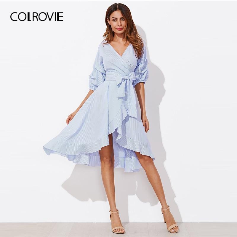 COLROVIE Blue Gathered Sleeve Surplice Wrap Pinstripe Ruffle Dress Women Bishop Sleeve Midi Dress 2019 V Neck Striped Dresses