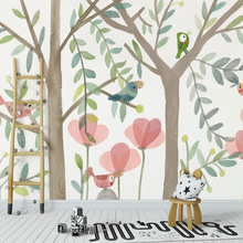 3D Wallpaper Minimalist Nordic Decoration Custom Milofi Background Mural Bird Forest