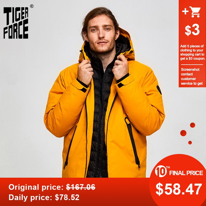 Tiger Force Oversize Men Winter Jacket Ski Sport Jacket For Men Waterproof Snow Jacket Fake Two Hooded Jacket Male Thicken Coat