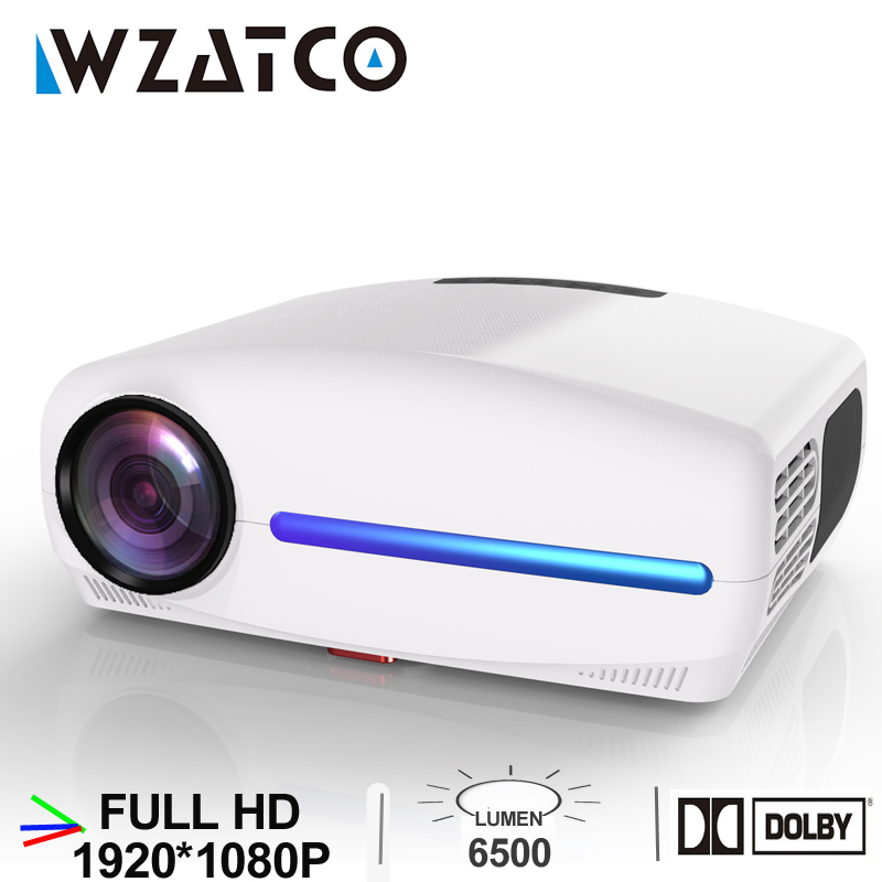 Wzatco c2 1920*1080 p hd completo led projetor com 4d digital keystone 6500 lumens de teatro em casa portátil hdmi beamer led proyector
