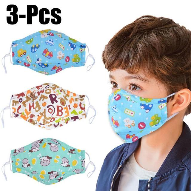 3pcs Mouth Mask Cartoon Printing Breathable Half Face Anti-Dust Mask Cotton Mask For Kids Clothing Accessories 1