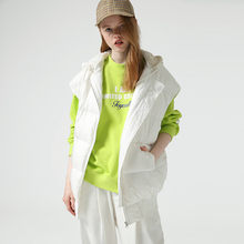 Toyouth Casual Solid Winter White Duck Down Jacket For Women Outerwear Sleeveles
