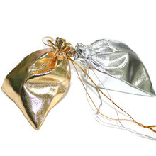 50pcs Jewelry Packing Silver Gold Foil Cloth Drawstring Velvet Bag  10x12cm Wedding Gift Bags & Pouches