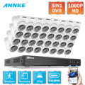 ANNKE 1080P 32CH Home Video Security System Lite H.265+ 5in1 1080N DVR 32X 1080P Smart IR Dome Outdoor Weatherproof CCTV Cameras