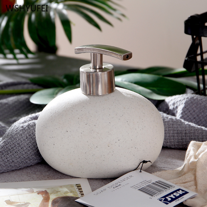 1Pcs Direct Marketing Ceramic Scrub Emulsion Bottle Simple Pressing Art Stone Porcelain Soap Bottle Hand Soap Shower Gel Bottle