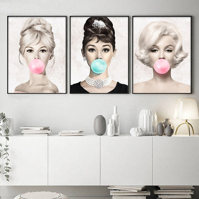 Famous Star Posters Audrey Hepburn Marilyn Monroe Bubble Gum Wall Art Poster Canvas Print Wall Pictures for Girl Room Decor