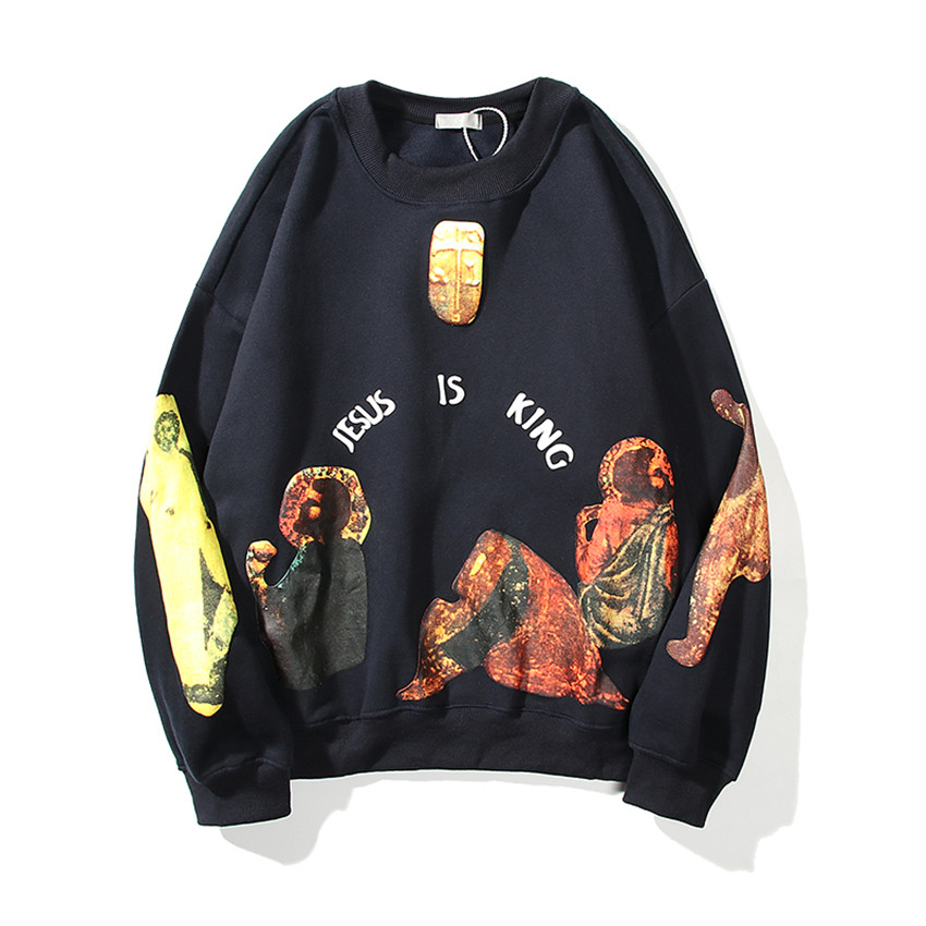 Jesus Is King Round-neck Thick Material Mural Logo Print Sweatshirts  3