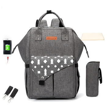 Fashion Mummy Maternity Nappy Backpack USB Bag  Multifunction Outdoor Travel Baby Diaper Bags For Baby Care