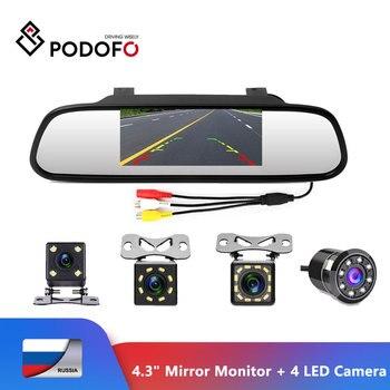 Podofo-Monitor de espejo retrovisor de coche, cámara reversa para visión trasera, LED de visión nocturna, sistema de aparcamiento automático, 4,3 pulgadas, CCD 1