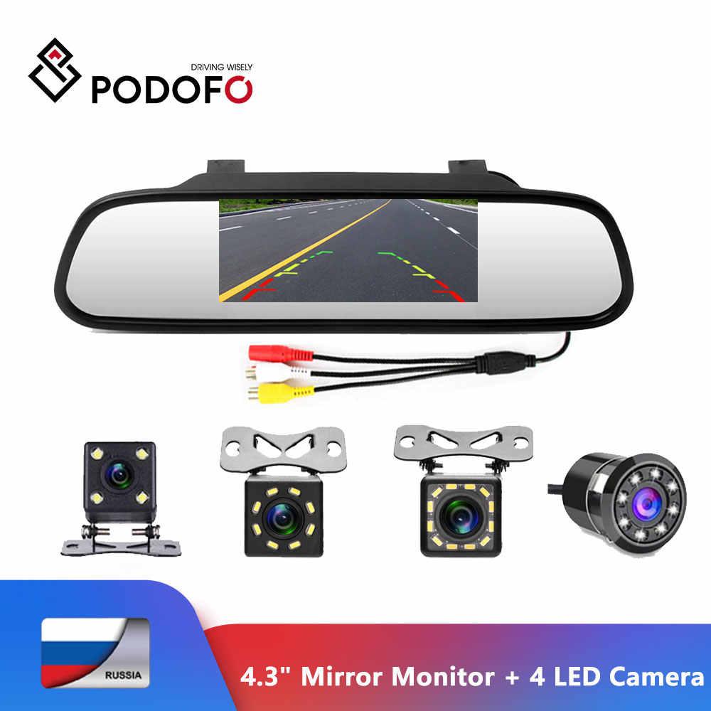 """Podofo 4,3 """"автомобильное зеркало заднего вида монитор система автоматической парковки + светодиодный ночного видения резервная камера заднего вида CCD Автомобильная камера заднего вида"""