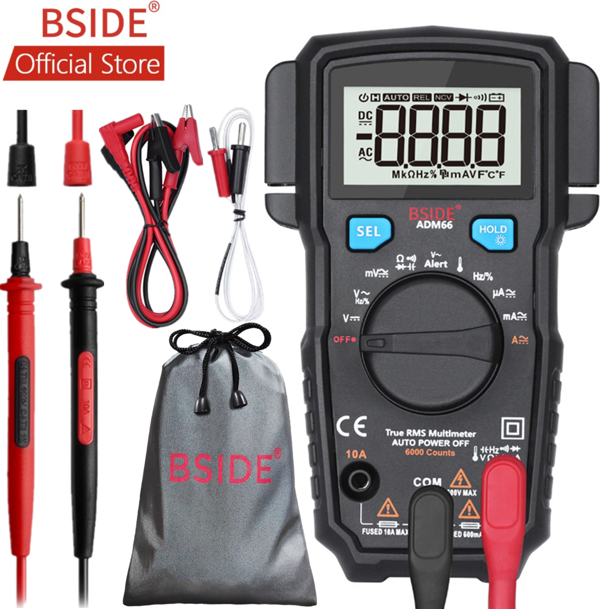 BSIDE ADM66 True RMS Digital Multimeter Auto Range TRMS Mini 6000 DMM Dual Slot Capacitance ohm Hz Temp NCV Diode Pocket Tester