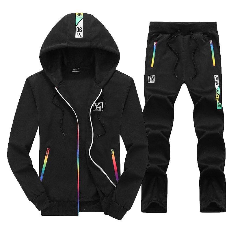 2018 Autumn New Style Men Sports Leisure Suit Men Fashion Color Long-sleeve Suit Hooded Korean-style Slim Fit