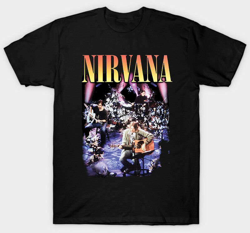 Nirvana Black Unplugged T Shirt Tour Band Vintage Creative Men Rock New