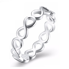 New fashion stainless steel ring, simple personality hollow 8-character surround ring Womens accessories