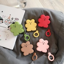 Silicone Earphone Case For Airpods 2 3D Cartoon Headphones Cover Apple 1/2 with Earpods Keyring case