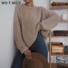 Oversized Sweater Pullover Female Jumper Cashmere Long-Sleeve Loose Elegant WOTWOY Autumn