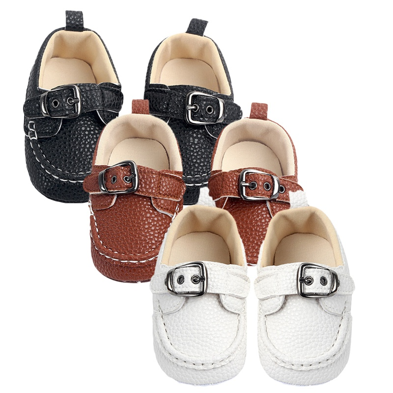 Baby Boy Shoes Metal Buckle Non-Slip Newborn Infant First Walkers Boys Toddler Soft Sole Shoes Single Shoes Leather Shoes