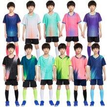 Boys Football Jerseys Tracksuit Children Soccer Sports Uniforms Kids Play Ball Sportswear Kits children's Football Shirt Suit