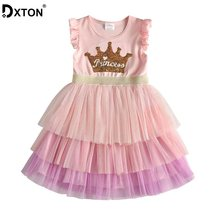 DXTON Summer Princess Dresses 2020 Tutu Dress For Girls Wedding Kids Dress Birthday Party Costumes Unicorn Children Clothes 3-8Y(China)