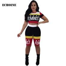 Echoine Letter Print 2 Piece Biker Short Set Women Outfits Crop Top and Pants Set Sweatshirt Sportwear Slim Bodycon Tracksuits недорого