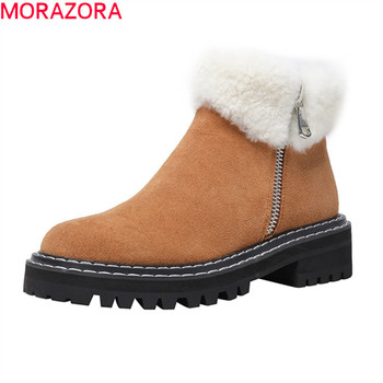 MORAZORA 2020 new hot sale winter keep warm top quality ankle boots med heels round toe black brown with fur women boots