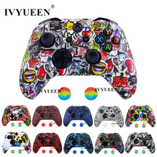 IVYUEEN Water Transfer Printing Camo Silicone Cover Skin for Xbox One X S Controller Protector Case with Joystick Thumb Grips