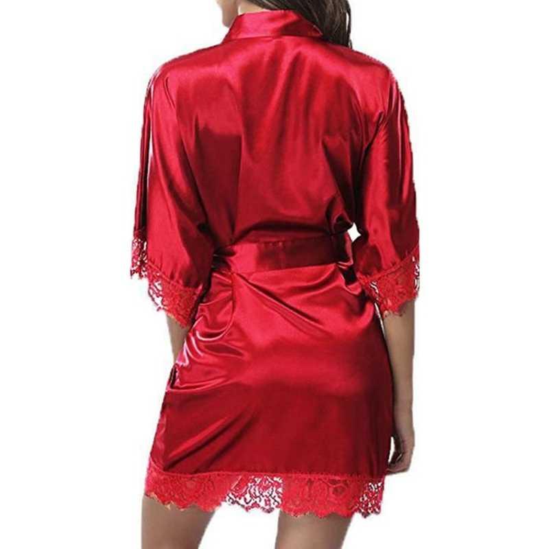 女性's のセクシーな氷の絹のローブスーツ半袖寝間着セット女性ホームナイトドレス 2019