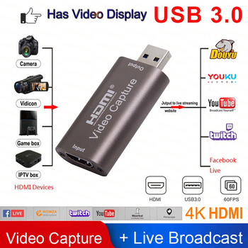 2020 NEW USB 3.0 Video capture card usb 3 4K HDMI input Game Recording Box for Computer Youtube OBS Live Streaming Broadcast