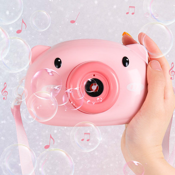 1PC Electric Bubble Toys For Girls Boys Cute Cartoon Pig Blowing Bubble Machine Automatic Camera Pattern Bubble Maker Drop Ship image