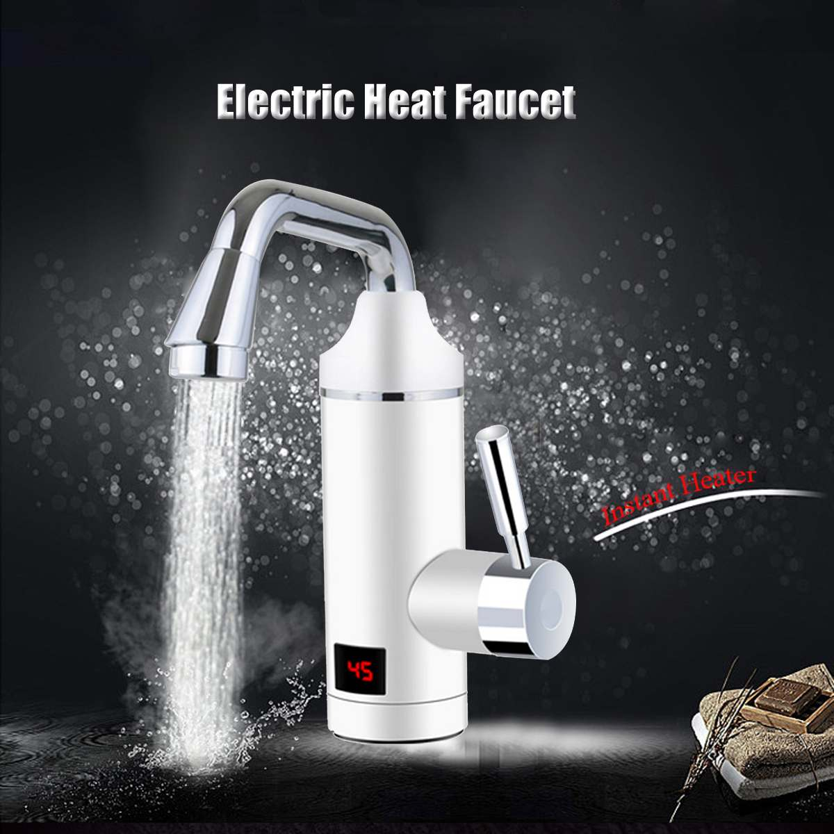 220V Electric Water Heater Faucet 3000W Kitchen Instant Fast Heating White Digital Display Leakage Protection Kitchen Faucet