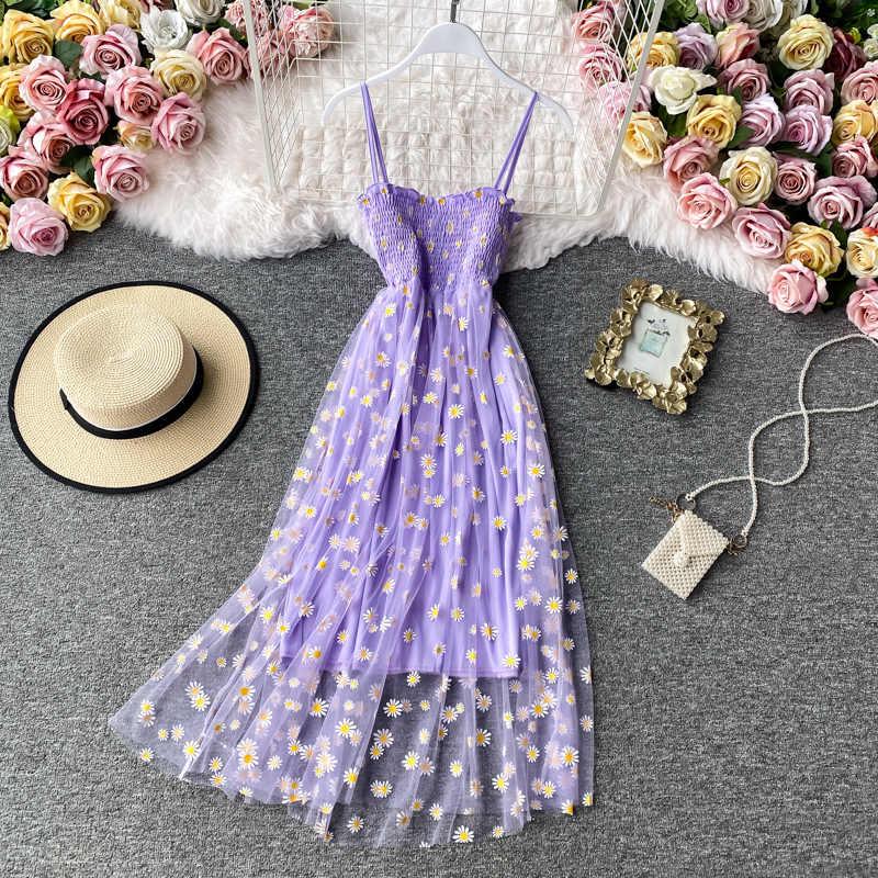 Singray-robe longue, imprimée marguerite, en dentelle, tenue d'été Sexy, en maille, bretelles Spaghetti, froncées, Style coréen